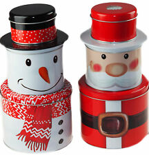 Set Of 3 Christmas Stacking Food Tins - Storage containers - Snowman Santa