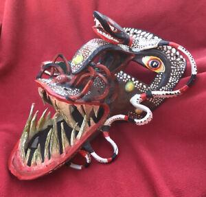 Magnificent Danced Leather Ritual Tastoane Festival Mask Tonala Mexico