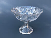Antique Nickel Plate Glass Co. clear pressed glass compote FROSTED CIRCLE c.1870