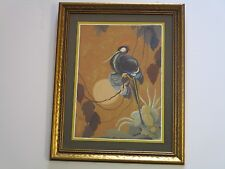 ANTIQUE DELL COLEMAN PAINTING LANDSCAPE BIRD IN TREE ART DECO 1920'S MODERN ART