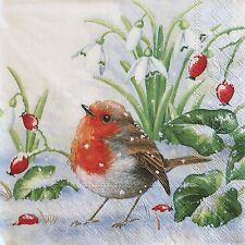 2 single paper Napkins Serwetki Decoupage or Collection Bird Snow Berries Winter