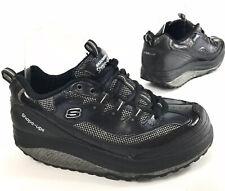 SKECHERS Shape Ups Toning Sneakers Black Leather Silver Glitter Womens size 8
