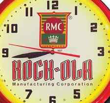 Rock-Ola Music Rmc Jukebox Red Neon Clock Hand Made Usa 20 Inch Game Room Office