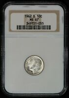 1962-D 10c SILVER ROOSEVELT DIME, HIGH-GRADE COIN *NGC MS 67* LOT#V316
