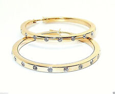 9CT HALLMARKED YELLOW GOLD POLISHED 29MM ROUND STATION SET HOOP EARRINGS