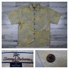 Tommy Bahama Men's Medium Silk Floral Hawaiian Aloha Summer Camp Shirt Yellow