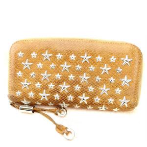 Jimmy Choo Wallet Purse Long Wallet Brown Woman Authentic Used Y1264