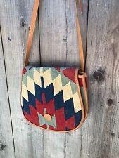 Vintage Aztec Southwest Crossbody Bag Kilim Tribal Chevron Leather Red Tan