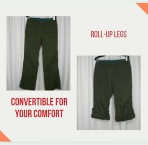 REI womens hiking travel pants roll-up convertible army green 0 petite