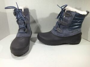 NORTH FACE Womens Shellista II Blue Suede Winter Snow Boots Shoes Sz 11 ZF-259
