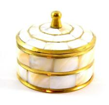 Jewelry treasure chest box brass with Mother of Pearls round trinket box - NEW