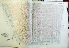 ORIGINAL 1885 ROBINSON LINEN ATLAS MAP LOWER EAST SIDE MANHATTAN NEW YORK CITY