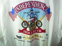 MENS NEW WHITE HOLLISTER 2000 RALLY BIKER MOTORCYCLE T SHIRT SIZE 2XL XXL 52