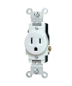 (1 pc) Single Receptacle 15 Amp 15A 125V AC Outlet 2 Pole 3 Wire White