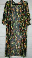 Lularoe Women's Shirley Black with Multi Color Floral Kimono Size M NWT