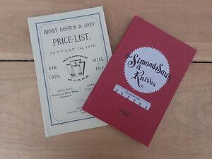 NEW OLD STOCK: Catalogue Reprint Simonds Saws 1919 & Disston Keystone works 1876