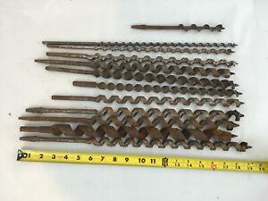 Mixed Lot of 11 Long Wood Drill Bits