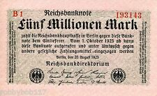 GERMANY 5 Million Mark Banknote aUNC p105 Weimar Republic Inflation Paper Money