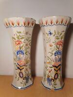Paire vase ancien faience Desvres Géo Martel décor Rouen céramique française