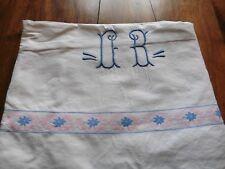 ANCIEN DRAP PUR COTON BLANC mono bleu OB galon rose et bleu 210 x 280 cm