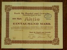 German 1000 Mark Bond 1923 very rare with coupons! ** Scarce **