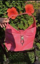 Dooney And Bourke Pink  Logo Lock Shoulder Bag  Leather Hobo