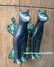 Cat Shape Vintage Antique Style Handmade Brass Door Handles Set Home Decor Gift