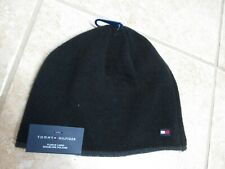 "TOMMY HILFIGER ""FLEECE LINED "" MENS WINTER BEANIE HAT NWT $42 BLACK WARM STYLISH"