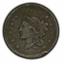 1839 1c Coronet Head Large Cent - Head of 38 - Mid-Grade Details - SKU-Y2634