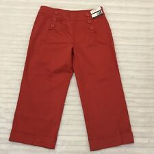 New York & Company Red Crop Size 4 Uptown Rise Straight Leg Sailor Trouser Pants