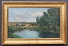 Landschaft mit Fluß und Häusern,Henri Charles Trouville,Barbizon