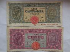 2 banconote da 50 e 100 lire 1944