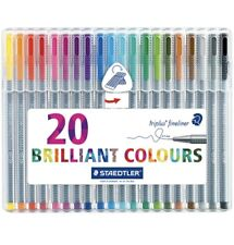 Staedtler Triplus Fineliner Pen Assorted Colours Pack Of 20 + Small Free Gift