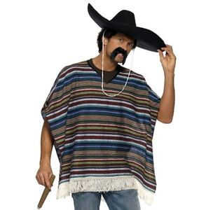 Adult Authentic Look Mexican Fancy Dress Poncho Mexico theme New by Smiffys