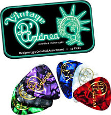 D'ANDREA 351 DESIGNER CELLULOID Guitar Picks .96MM HEAVY 12 picks in Tin