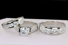 His & Hers Matching Engagement Wedding Bridal Ring Set 925 Sterling Cz size 7.25