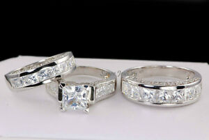 His & Hers Matching Wedding Engagement Bridal Ring Set 925 Sterling size 7.25