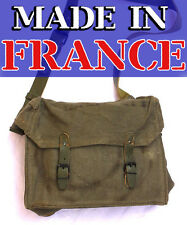 French Military Shoulder Bag Canvas Army Leather Bike Pannier France Vintage Od
