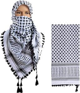 Keffiyeh Scarf Palestinian Shemagh Original Arab Hirbawi Kufiya White New Black