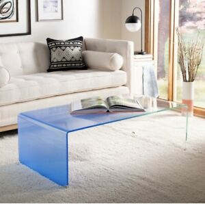 Crysta Ombre Glass Coffee Table Blue - Safavieh Furniture