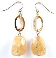 £30 Boho Minimalist Gold Brown Citrine Quartz Like Stone Oval Drop Earrings