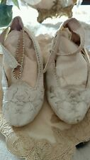 OMG antique VTG childs? DOLL? embroidery victorian wedding shoes SILK?