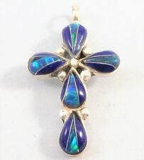 """STERLING SILVER Vintage Christian LAPIS BLUE OPAL Glows INLAY CROSS PENDANT 1"""""""