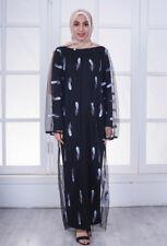 Embroidery Muslim Women's Kaftan Abaya Open Cardigan Dubai Maxi Mesh Long Dress