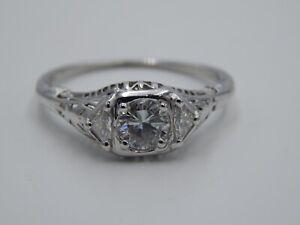 ART DECO .76 tcw Filigree Old Diamond 3 Stone Ring 18k WG H/VS Handmade Estate