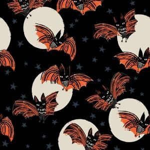 Fat Quarter Dashwood  Studios Full Moon Halloween Bats 100% Cotton Fabric
