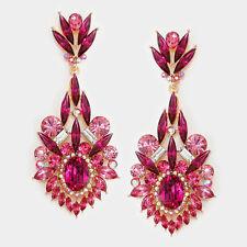 elegant fuchia   /rhodium dangle   bridal evening earring fashion jewelry p e3