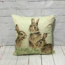 Rabbits Cushion Cover Country Style Watercolour Print Vintage Wildlife Animals