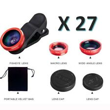 Job Lot x 27 3 in 1 Phone Camera Lens Fish Eye Wide Angle Macro Clip Set iPhone