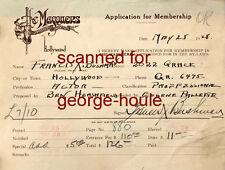 Francis X Bushman - Masquers Application - Autograph - 1928 - Ben-Hur